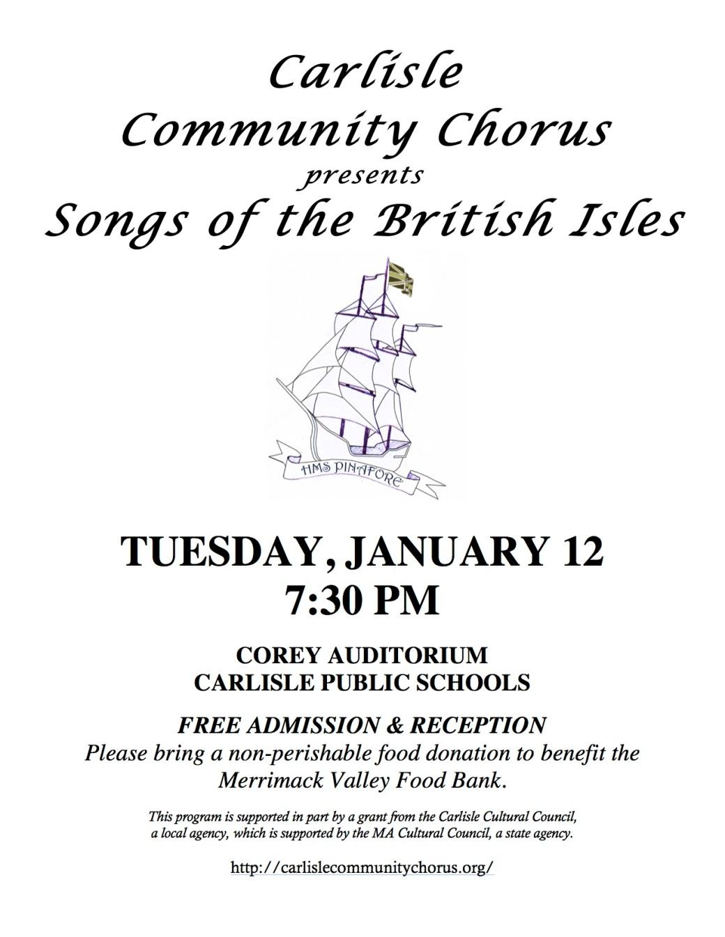 CCC Jan 12 2016 concert flyer